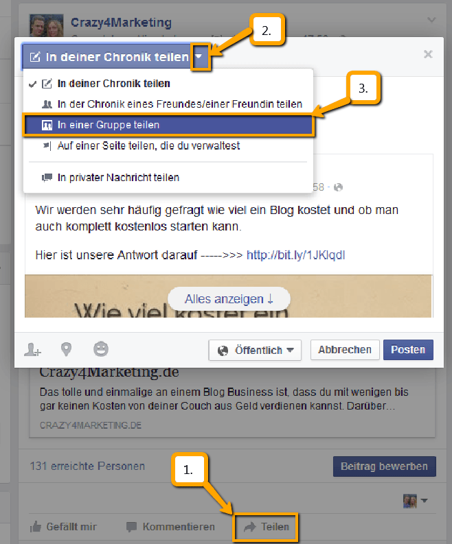 Facebook Fanpage Post in Gruppen teilen